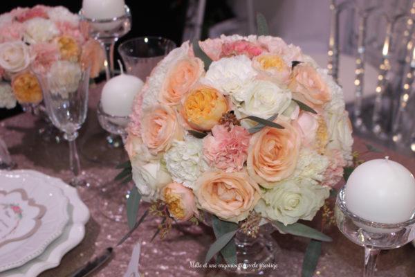 Centre de table mariage design floral bouquet romantique décoration florale mariage fleurs mariage fleuriste mariage aurelie lafond-doligniere fleurs d'un jour www.fleursdunjour.fr