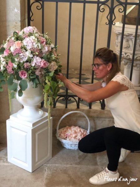 mariage église de Vallery Chateau de Vallery Mariage décoration florale fleurs mariage fleurs d'un jour
