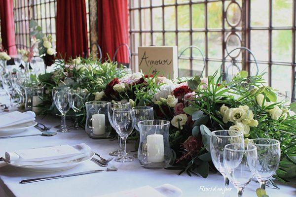 Centre de table chateau de Vallery Cérémonie Sycomore fleurs mariage Chateau de Vallery Décoration florale fleurs d'un jour