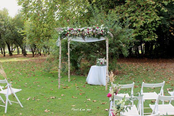 Cérémonie mariage, houppa, décoration florale, décoration mariage, fleurs mariage, fleuriste mariage, fleuriste , écuries du gatinais, fleurs d'un jour